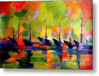 Sailing Boats By The River Metal Print by Helena Wierzbicki