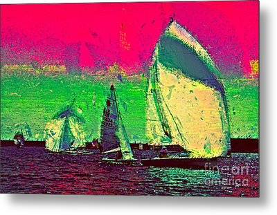 Metal Print featuring the photograph Sailing In Shimmer by Julie Lueders