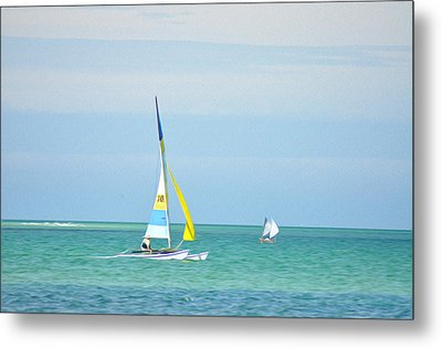 Sailing In The Gulf Of Mexico Metal Print by Bill Cannon