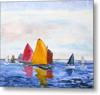 Sailing Nantucket Sound Metal Print by Michael Helfen