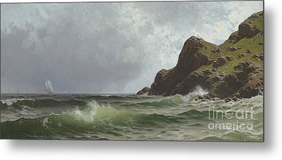 Sailing Off The Coast Metal Print by Alfred Thompson Bricher