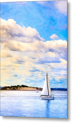 Sailing On A Beautiful Day In Boston Harbor Metal Print by Mark E Tisdale
