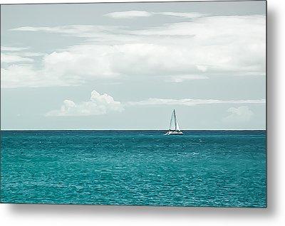 Sailing On A Turquoise Sea Metal Print by Jason Bartimus