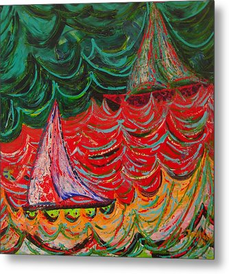 Sailing On Fire Metal Print by Judi Mosby
