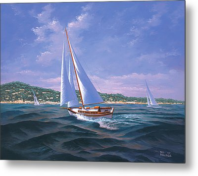 Sailing On Monterey Bay Metal Print by Del Malonee