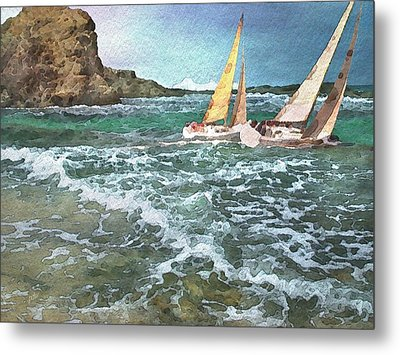 Sailing Past The Rock Metal Print by Philip White