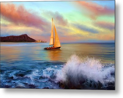Sailing Past Waikiki Metal Print by Dale Jackson