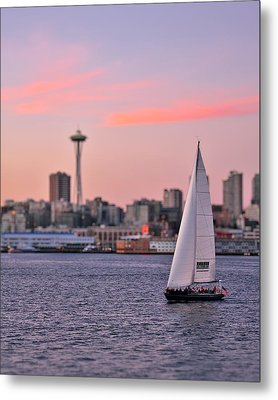 Sailing Puget Sound Metal Print by Adam Romanowicz