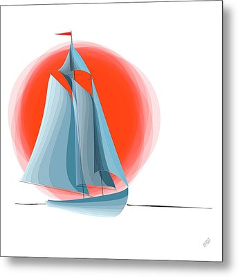 Sailing Red Sun Metal Print by Ben and Raisa Gertsberg