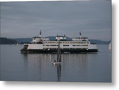 Metal Print featuring the photograph Sailing Regatta And Issaquah Ferry by E Faithe Lester