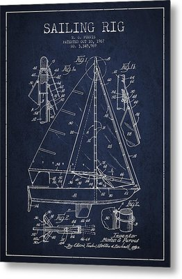 Sailing Rig Patent Drawing From 1967 Metal Print by Aged Pixel