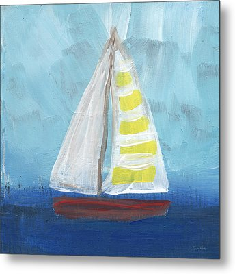 Sailing- Sailboat Painting Metal Print by Linda Woods