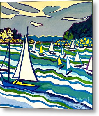 Sailing School Manchester By-the-sea Metal Print by Debra Bretton Robinson