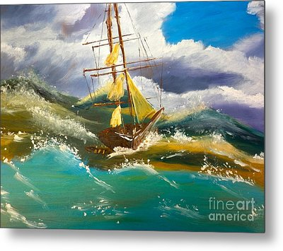 Metal Print featuring the painting Sailing Ship In A Storm by Pamela  Meredith