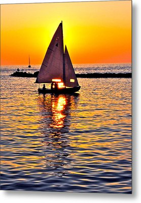 Sailing Silhouette Metal Print by Frozen in Time Fine Art Photography