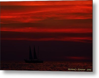 Sailing Through The After Glow Metal Print