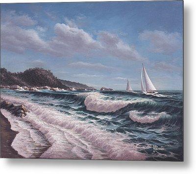 Sailing Toward Point Lobos Metal Print by Del Malonee