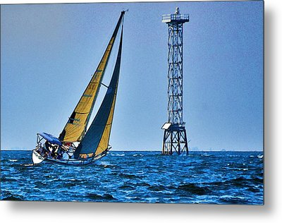 Metal Print featuring the photograph Sailing Towards The Tower by Pamela Blizzard