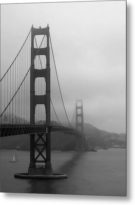 Sailing Under The Golden Gate Bridge Bw Metal Print by Connie Fox