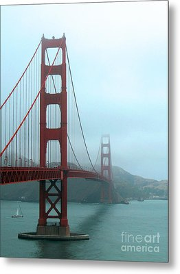 Sailing Under The Golden Gate Bridge Metal Print by Connie Fox