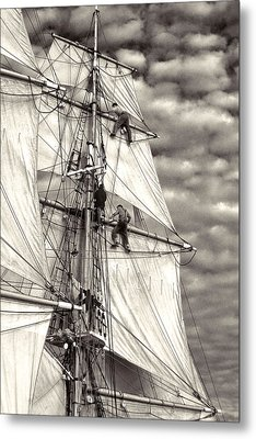 Sailors In Rigging Of Tall Ship Metal Print by Cliff Wassmann