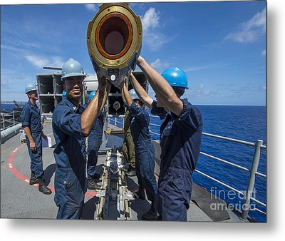 Sailors Load Rim-7 Sea Sparrow Missiles Metal Print by Stocktrek Images