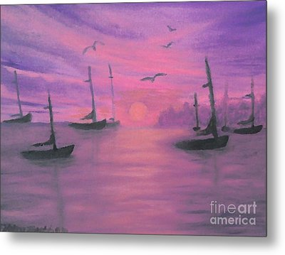 Metal Print featuring the painting Sails At Dusk by Holly Martinson
