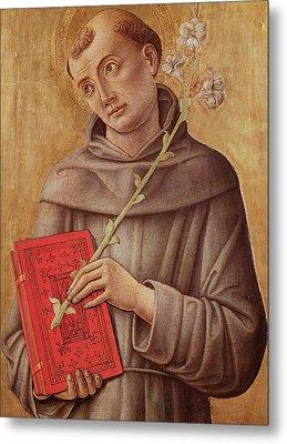 Saint Anthony Of Padua  Metal Print by Bartolomeo Vivarini
