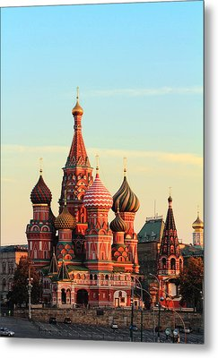 Saint Basils Cathedral On Red Square Metal Print