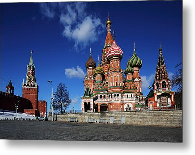Saint Basils Cathedral On The Red Square Metal Print