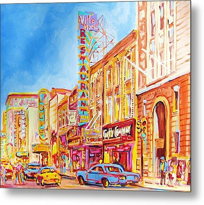 Metal Print featuring the painting Saint Catherine Street Montreal by Carole Spandau