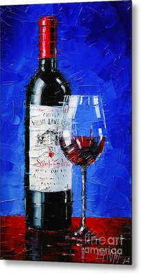 Still Life With Wine Bottle And Glass II Metal Print by Mona Edulesco