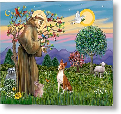 Metal Print featuring the digital art Saint Francis Blesses A Basenji by Jean Fitzgerald