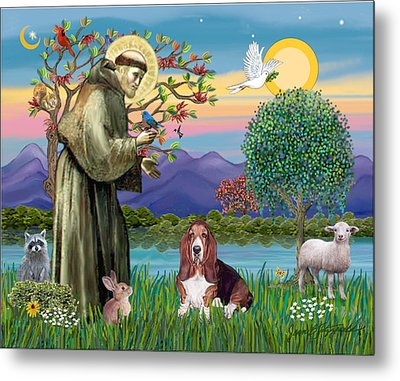 Saint Francis Blesses A Basset Hound Metal Print by Jean Fitzgerald