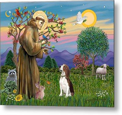 Saint Francis Blesses A Beagle Metal Print by Jean B Fitzgerald