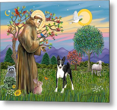 Metal Print featuring the digital art Saint Francis Blesses A Black And White Basenji by Jean Fitzgerald