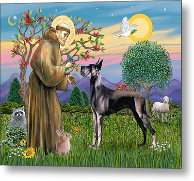 Metal Print featuring the digital art Saint Francis Blesses A Black Great Dane by Jean Fitzgerald