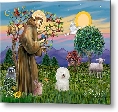 Metal Print featuring the digital art Saint Francis Blesses A Bolognese by Jean B Fitzgerald