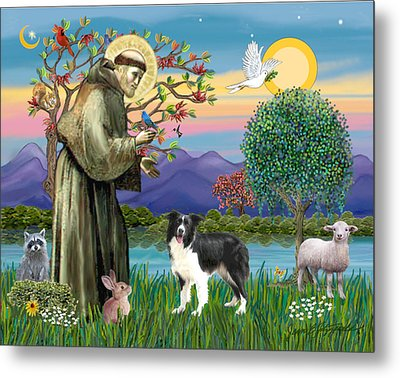 Saint Francis Blesses A Border Collie Metal Print by Jean Fitzgerald