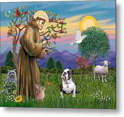 Metal Print featuring the digital art Saint Francis Blesses A Brown And White English Bulldog by Jean B Fitzgerald