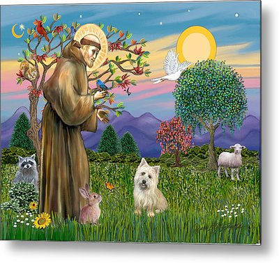 Saint Francis Blesses A Cairn Terrier Metal Print by Jean B Fitzgerald