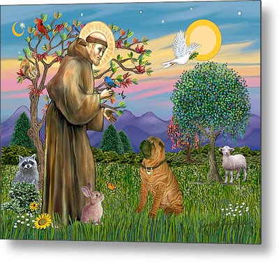 Metal Print featuring the digital art Saint Francis Blesses A Chinese Shar Pei by Jean Fitzgerald