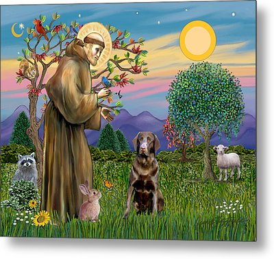 Saint Francis Blesses A Chocolate Labrador Retriever Metal Print by Jean Fitzgerald