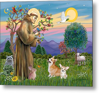Saint Francis Blesses A Corgi And Her Pup Metal Print by Jean Fitzgerald