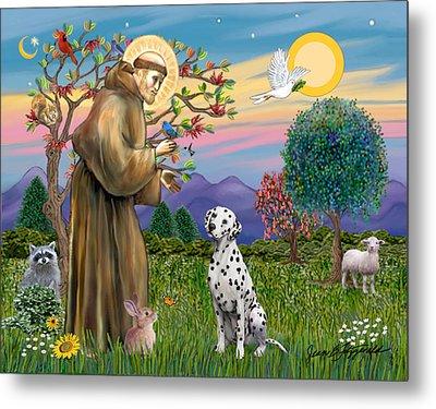 Metal Print featuring the digital art Saint Francis Blesses A Dalmatian by Jean Fitzgerald