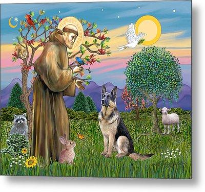 Saint Francis Blesses A German Shepherd Metal Print by Jean Fitzgerald
