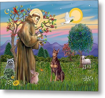 Metal Print featuring the digital art Saint Francis Blesses A Red Doberman by Jean Fitzgerald