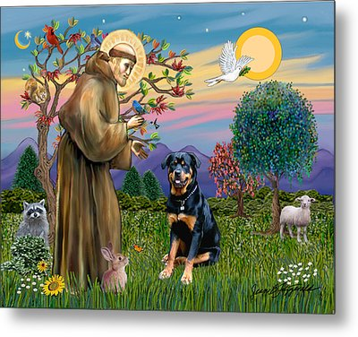 Metal Print featuring the digital art Saint Francis Blesses A Rottweiler by Jean Fitzgerald