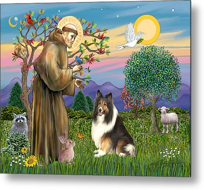 Metal Print featuring the digital art Saint Francis Blesses A Sable And White Collie by Jean Fitzgerald