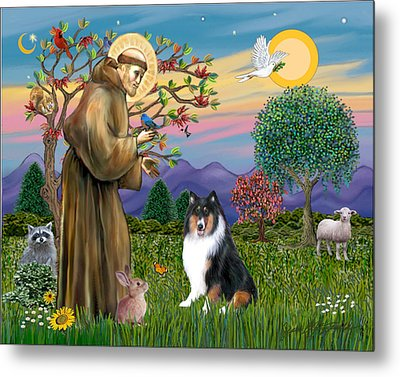 Metal Print featuring the digital art Saint Francis Blesses A Tri Color Collie by Jean B Fitzgerald